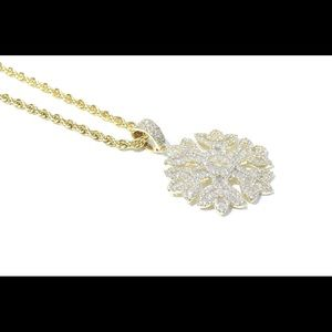 Other - 14k Gold Baguette Diamond Snow Flake Charm Chain